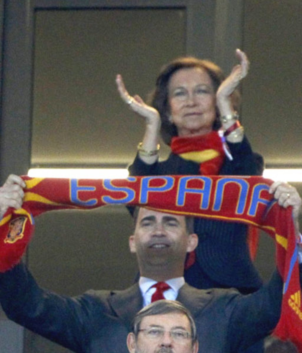 La Familia Real animando a La Roja
