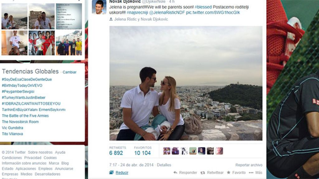 Novak Djokovic anuncia su paternidad en Twitter