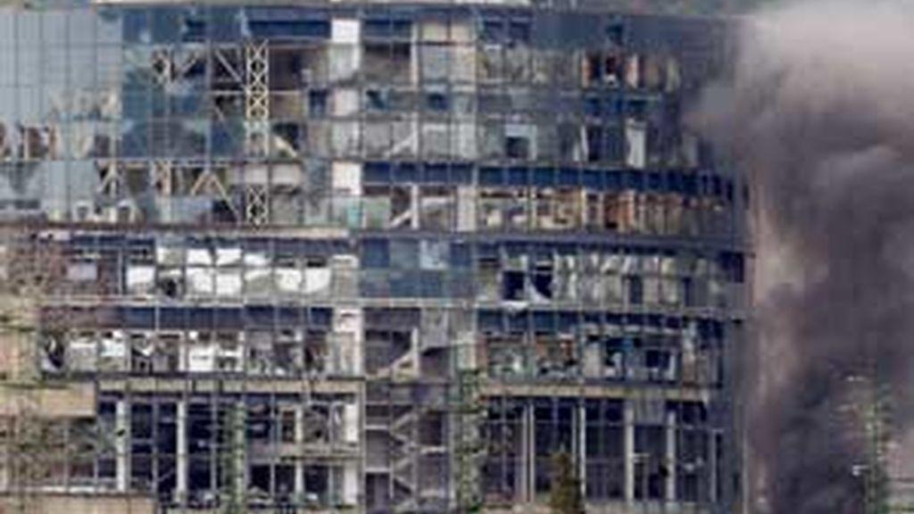 Imagen de archivo del atentado de ETA contra la sede de EiTB. Foto: EFE