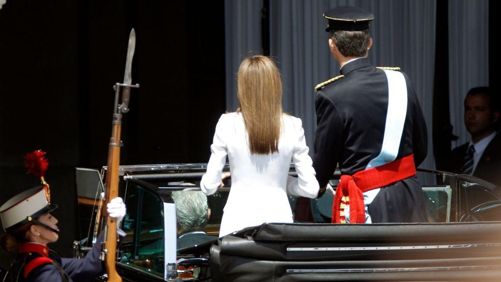 Los Reyes llegan al Palacio Real