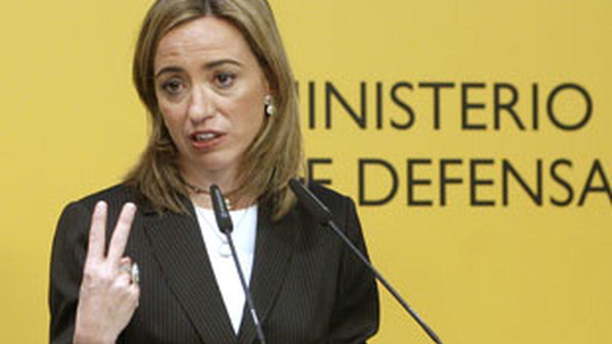 La ministra de Defensa, Carme Chacón, ha explicado el dispositivo de liberación. Video: Informativos Telecinco