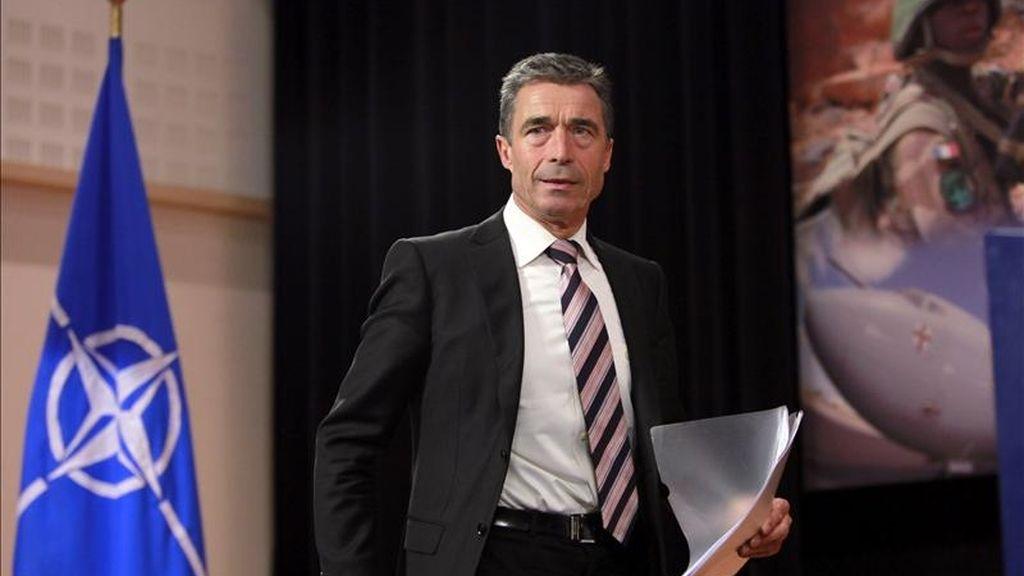 Anders Fogh Rasmussen, secretario general de la Organización de Tratado del Atlántico Norte (OTAN), en la sede de ese organismo en Bruselas, Bélgica. EFE/Archivo