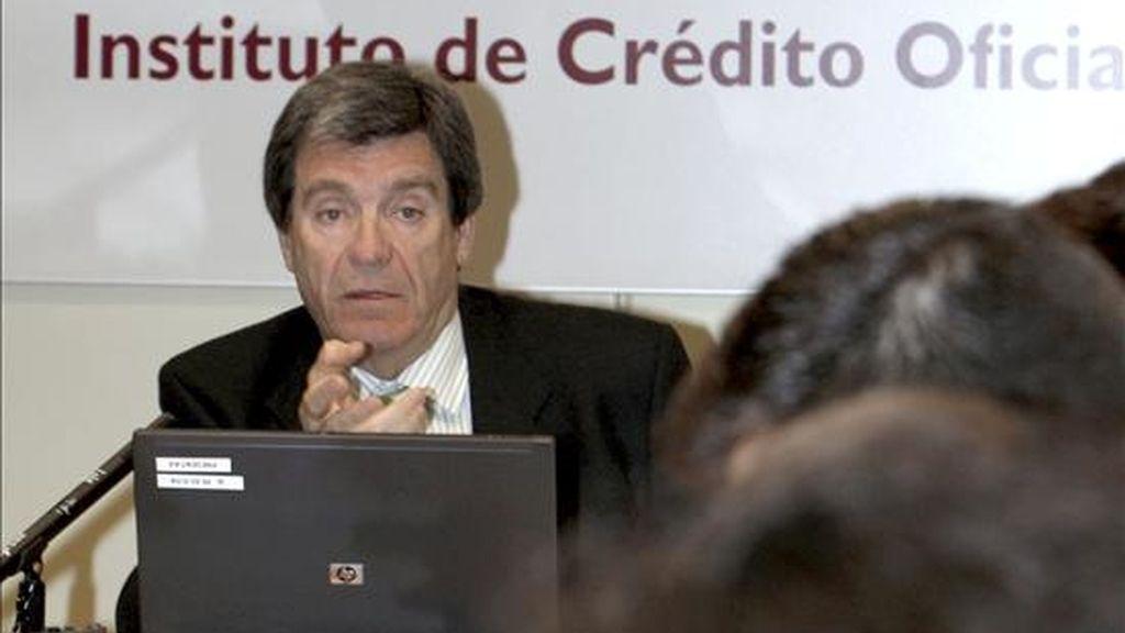 El presidente del Instituto de Crédito Oficial, Aurelio Martínez, ayer durante la presentación del Índice de Confianza de los Consumidores de diciembre. EFE/Archivo