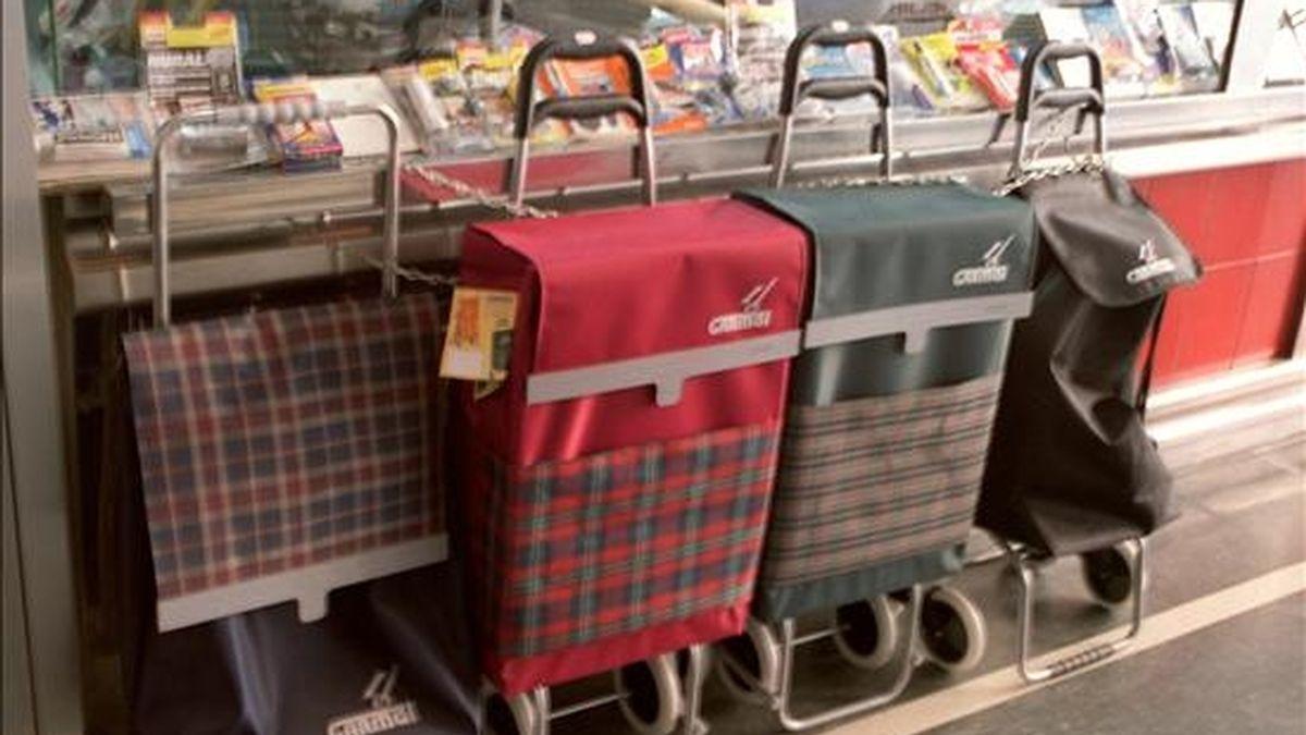 Carritos de la compra expuestos en una tienda de  un mercado madrileño. EFE/Archivo