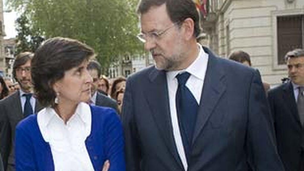 María San Gil junto a Mariano Rajoy en uno de sus últimos encuentros en el País Vasco.