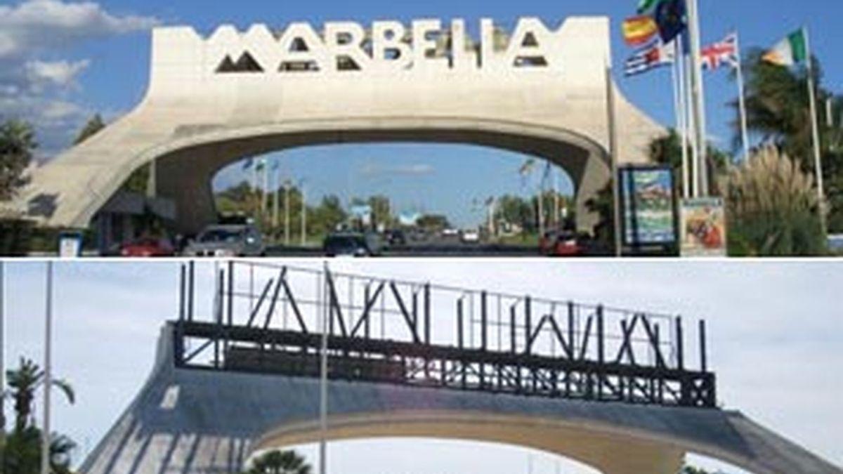 El arco de Marbella, en pleno esplendor, y ahora durante su derribo.