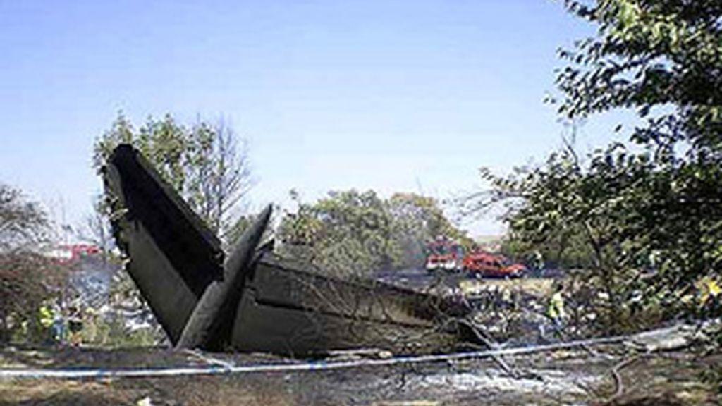 Restos del avión siniestrado el 20 de agosto de 2008. Foto: Efe
