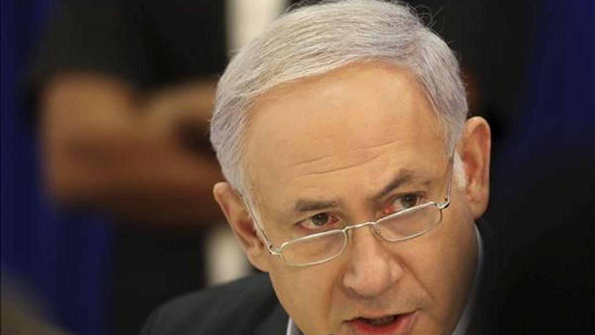 El primer ministro israelí, Benjamin Netanyahu, preside una reunión especial del Consejo de Ministros en la localidad del norte israelí de Tirat Hacarmel, cerca de Haifa. EFE