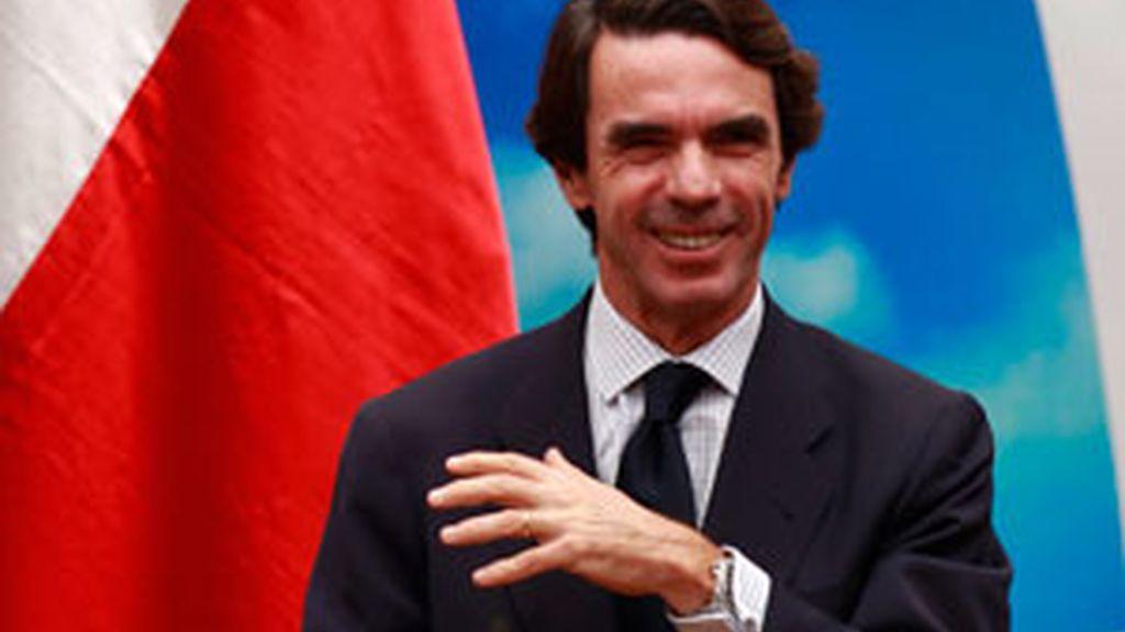 El ex presidente José María Aznar durante una conferencia. GTRES