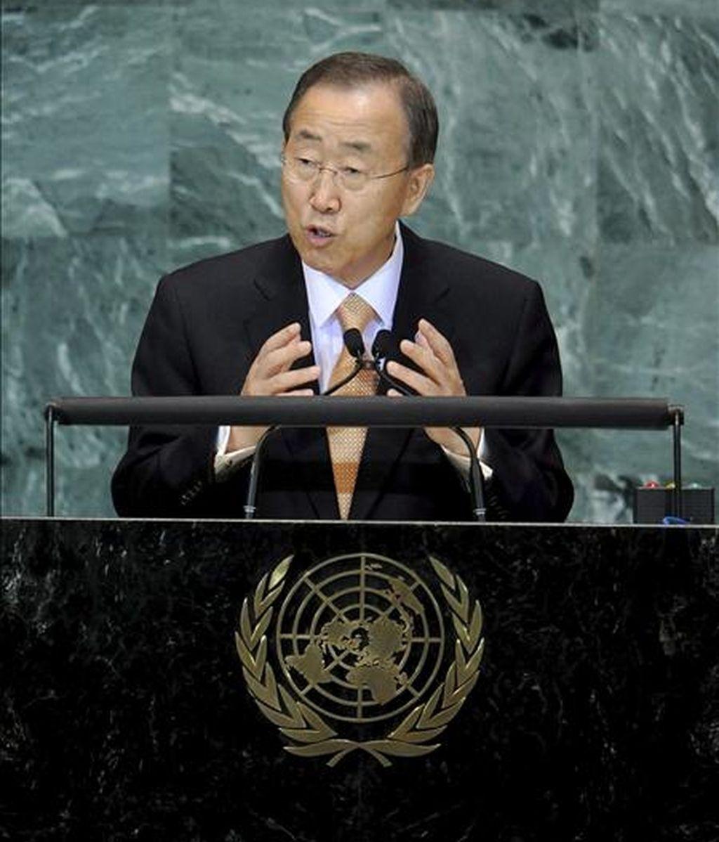 El secretario general de la ONU, Ban Ki-moon, participa en la Convención sobre biodiversidad, donde presentó una nueva estrategia global para acelerar la reducción de la mortalidad infantil y materna. EFE