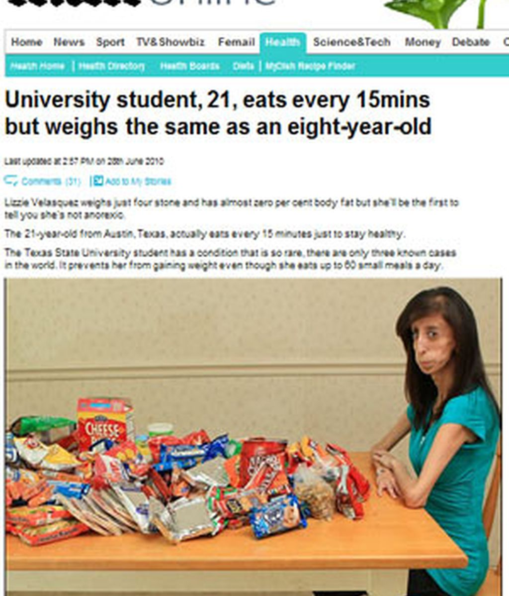 Lizzie Velazques, en una imagen del Daily Mail.