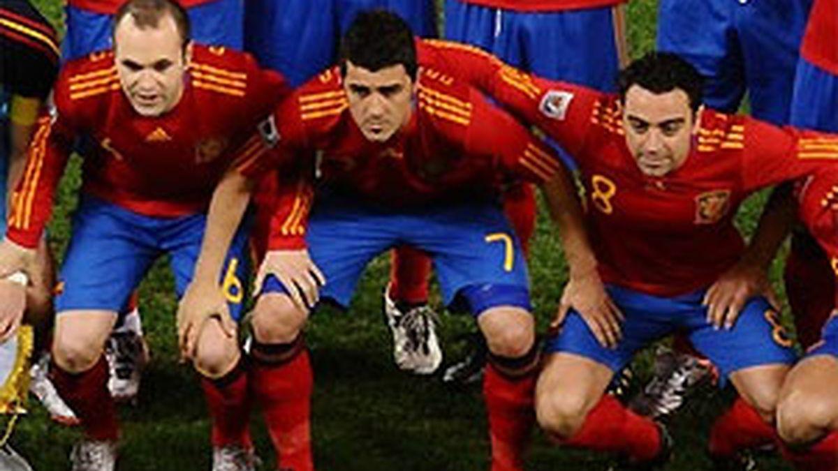 Iniesta, Villa y Xavi demuestran, una vez más, que La Roja está de moda. FOTO: Getty.