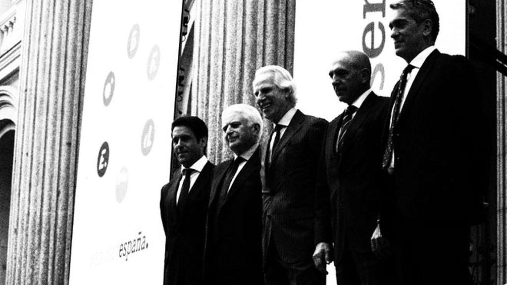 Mario Rodríguez, Paolo Vasile, Giuseppe Tringali, Massimo Musolino y Javier Uría