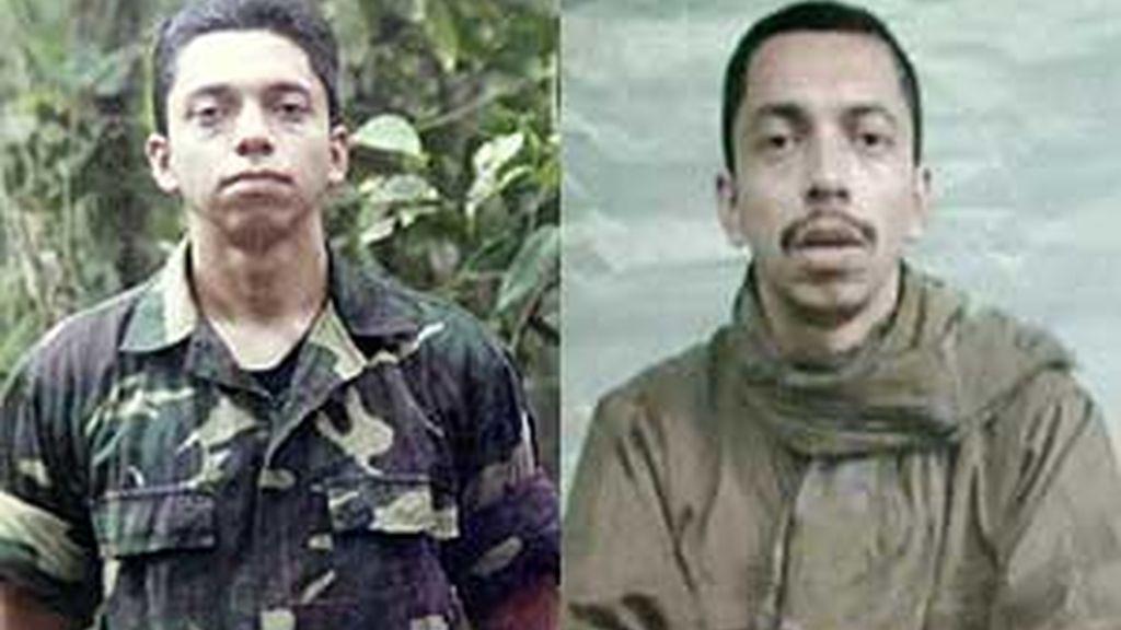 Pablo Emilio Moncayo a los 18 años (derecha) y a los 31, un año antes de ser liberado por las FARC