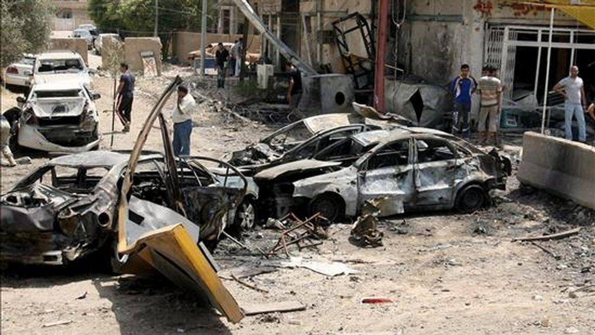 Imagen del atentado con dos coches bomba en Bagdad (Irak), el 20 de junio pasado. EFE/Archivo