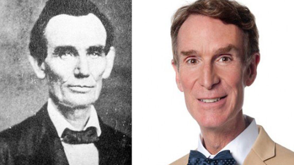 Abraham Lincoln y el presentador Bill Nye