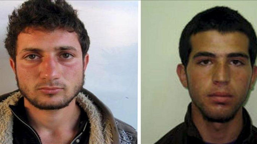 Combo de fotografías cedidaS hoy domingo 17 de abril de 2011 por el gobierno israelí que muestra a los jóvenes palestinos Amjad Awad (i), de 19 años, y Hakim Awad (d), de 18. EFE