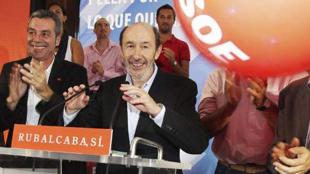 Alfredo Pérez Rubalcaba, durante un acto electoral en Madrid.