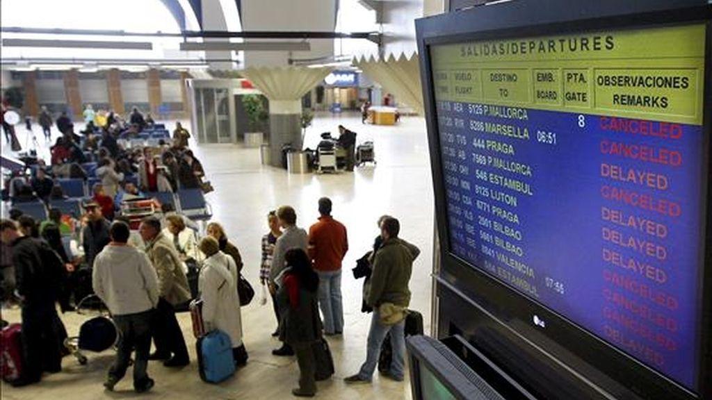 Gran número de personas esperan en el aeropuerto de Sevilla. EFE