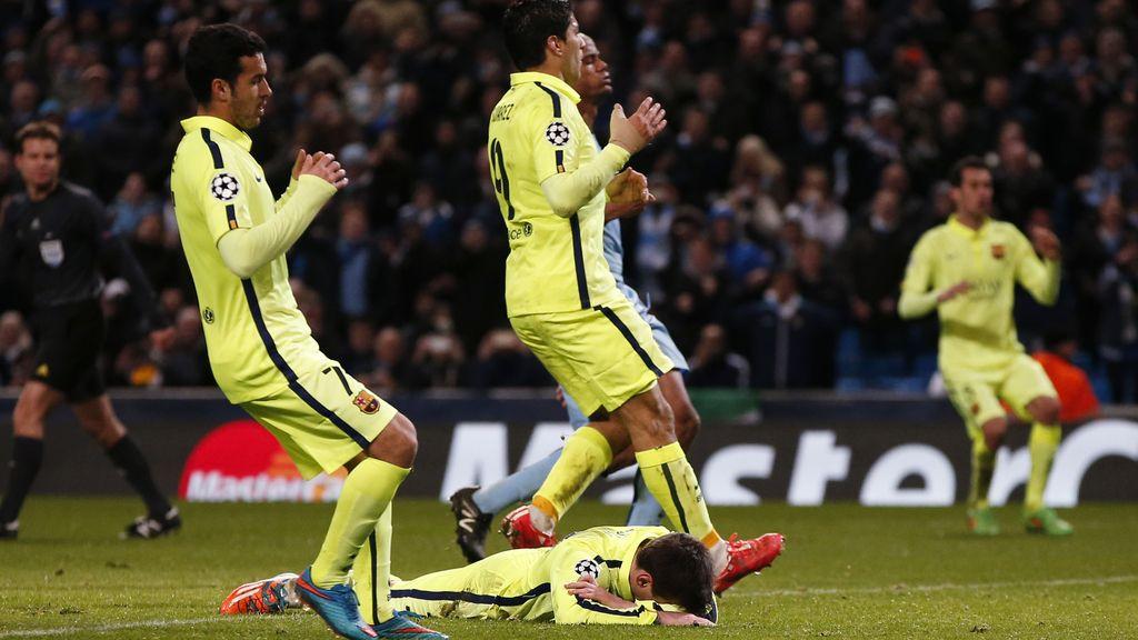Messi lamenta el penalti fallado en el último suspiro en la ida de octavos ante el Manchester City