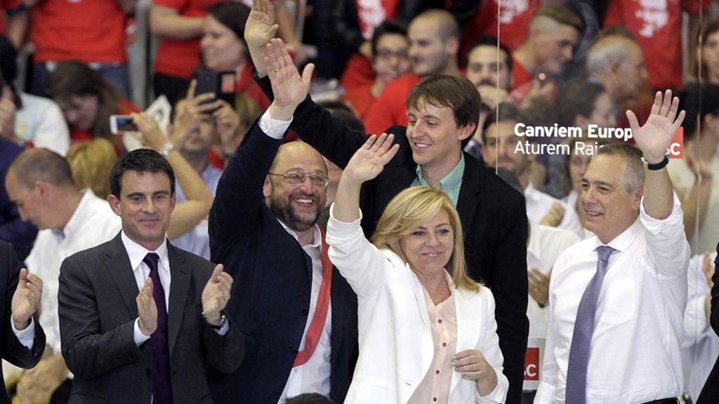 Los líderes socialistas europeos respaldan a Valenciano en el gran mitin de Cataluña