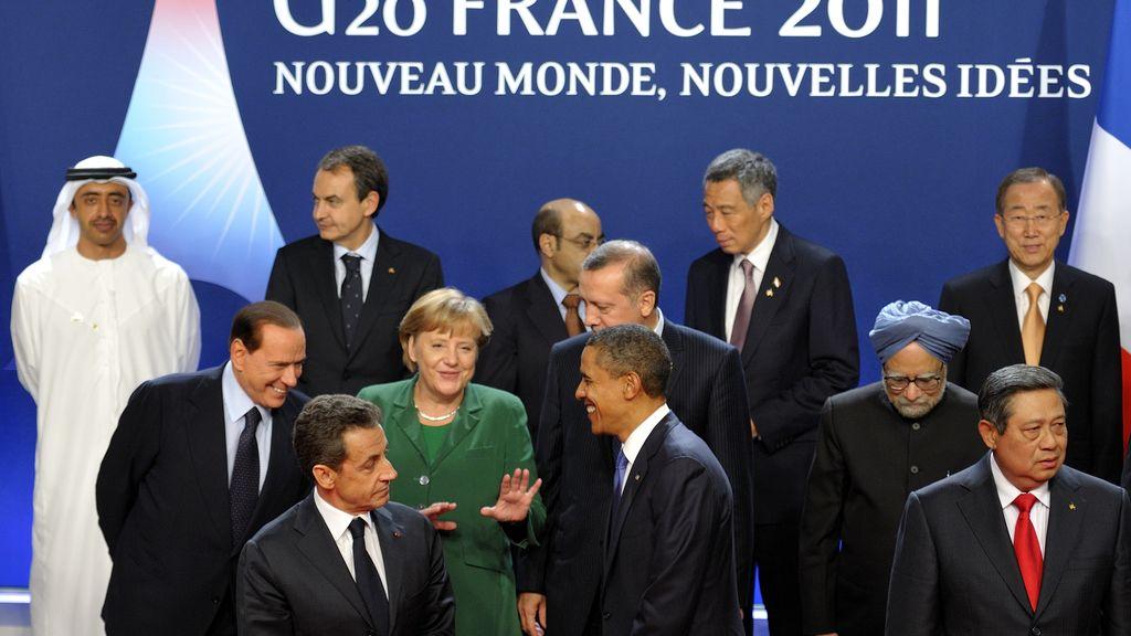 Los líderes del G20, en la foto de familia de la cumbre de Cannes