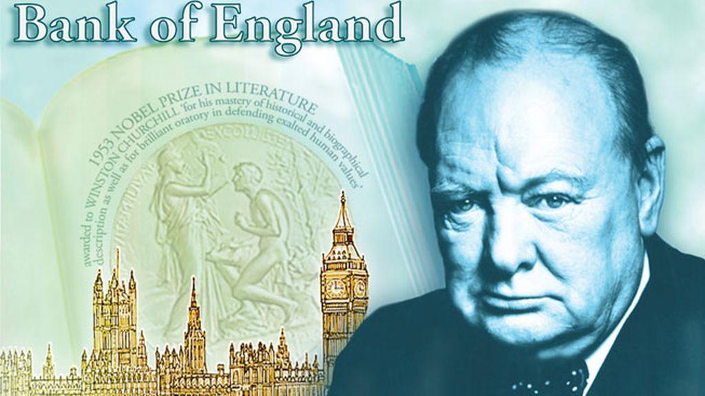 Winston Churchill enla imagen de los nuevos billetes de cinco libras