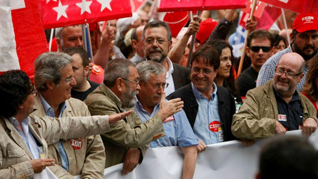 Toxo y Méndez protestan en Madrid