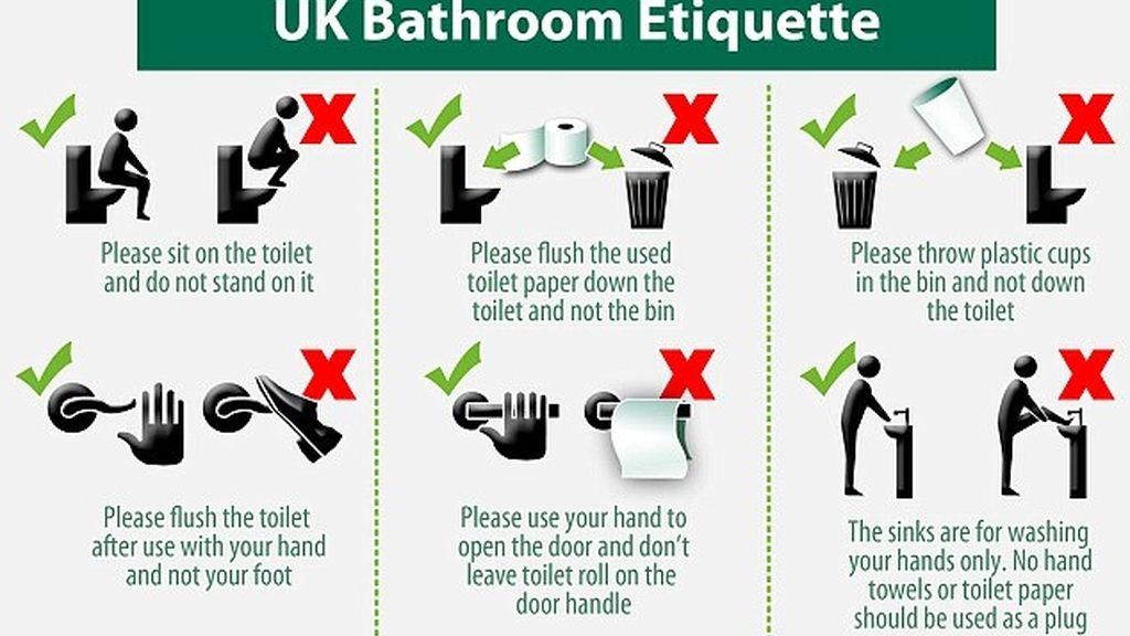 instrucciones, uso del baño, banco británico, reglas de uso, trabajadores