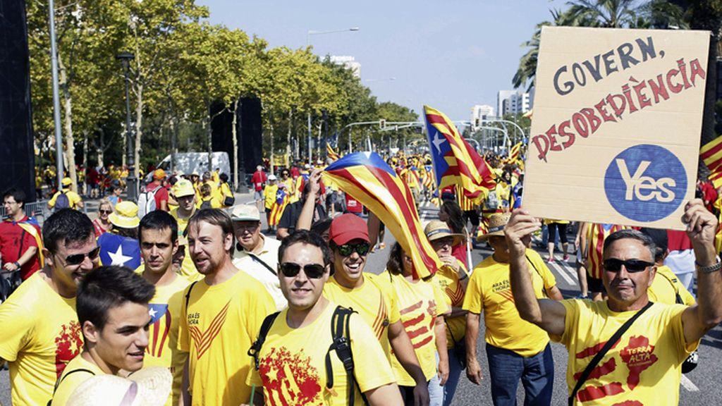Manifestantes de la Diada de Cataluña