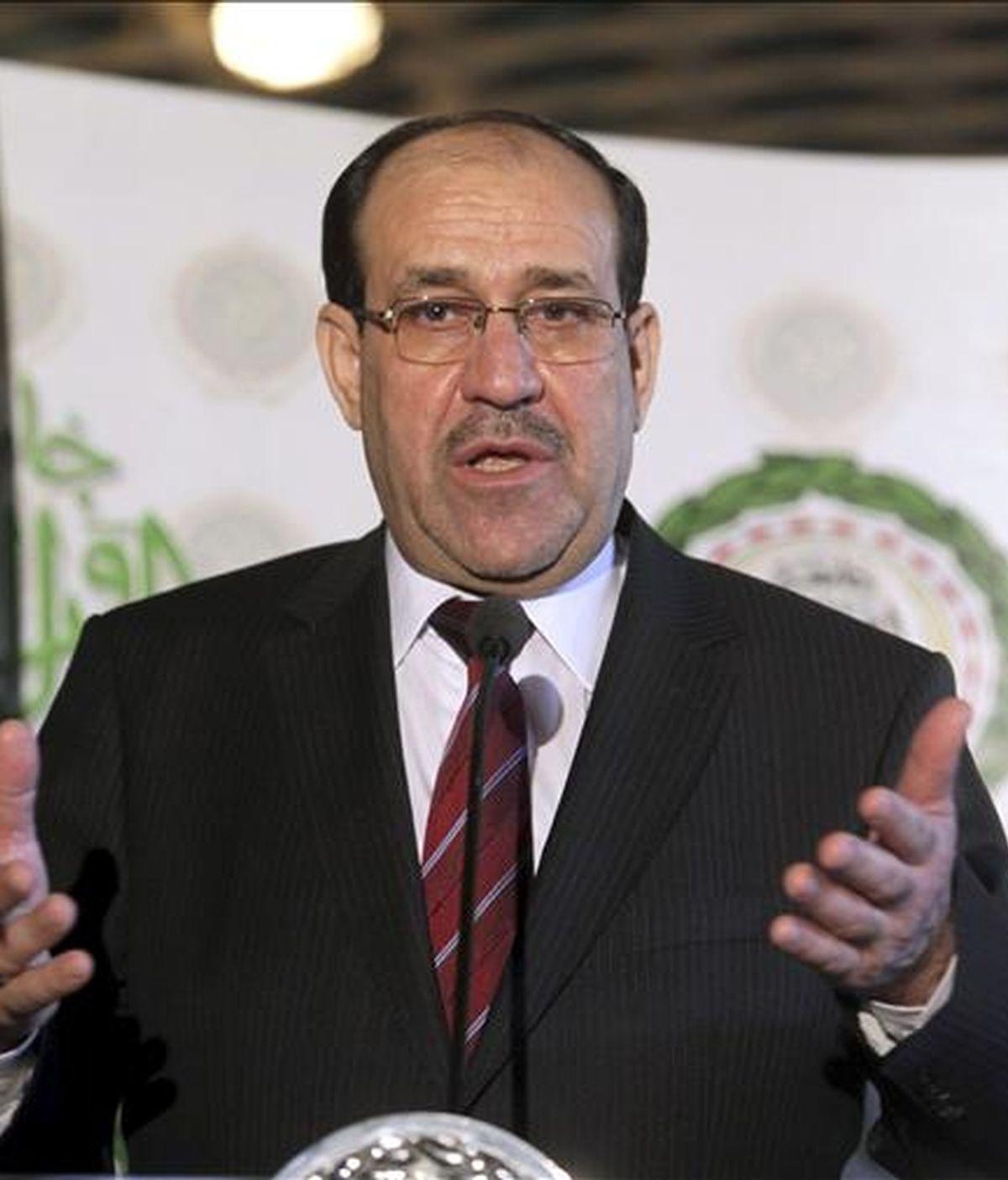El primer ministro en funciones iraquí, Nuri al Maliki, durante una rueda de prensa. EFE/Archivo