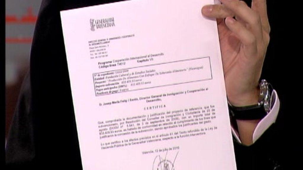 El documento exclusivo que demuestra que Camps sabía en qué se gastaba el dinero para ayudar a los pobres