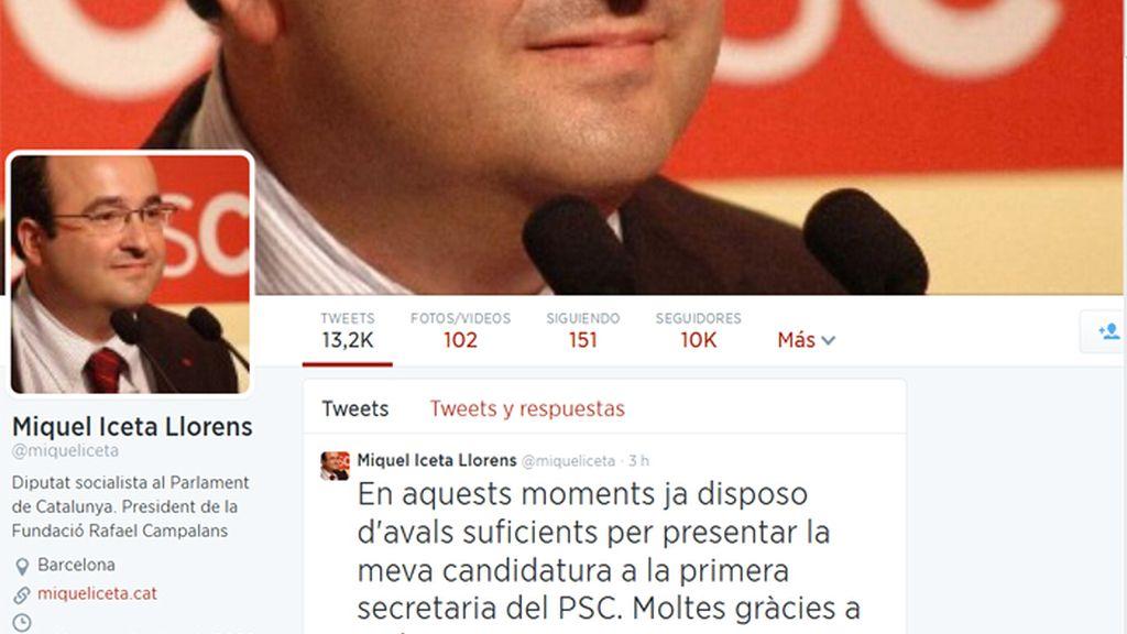 Miquel Iceta anuncia a través de Twitter que tiene los más de 2.000 avales necesarios para liderar el PSC