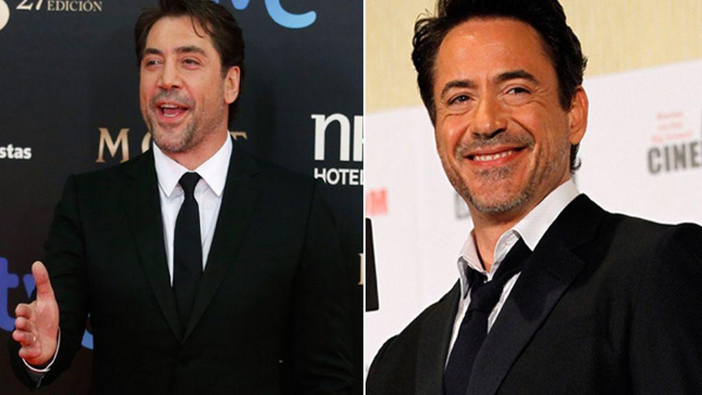Los actores Javier Bardem y Robert Downey Jr.