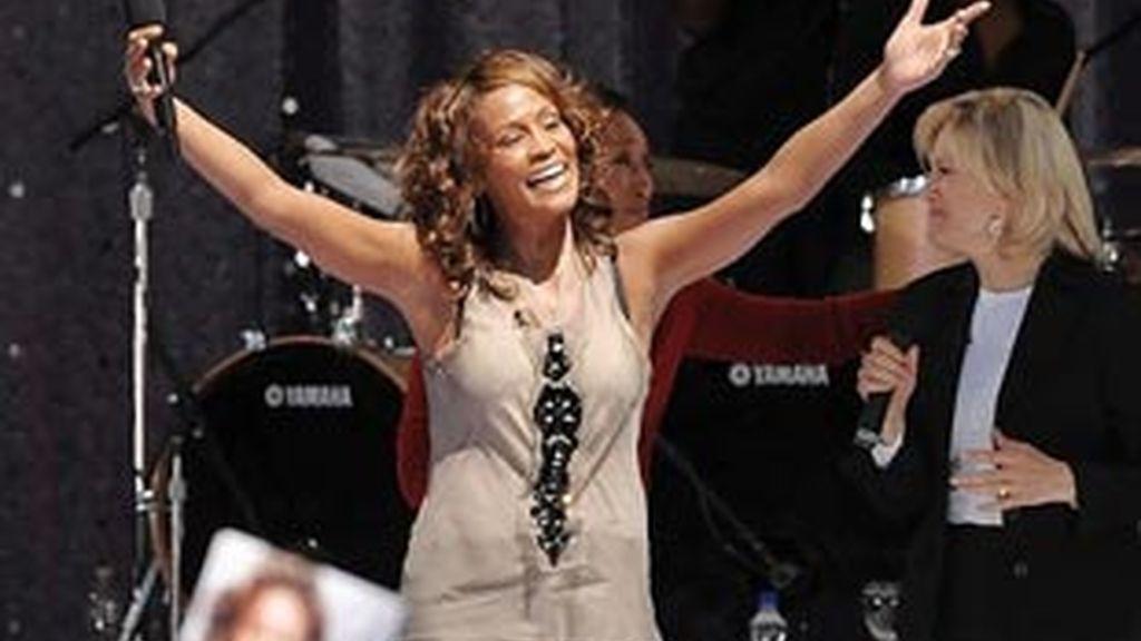La cantante Whitney Houston durante uno de sus conciertos.