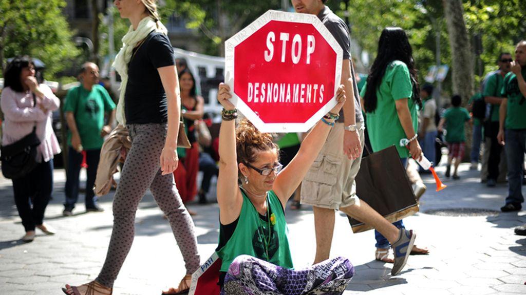 Protesta de la PAH en las calles de Barcelona