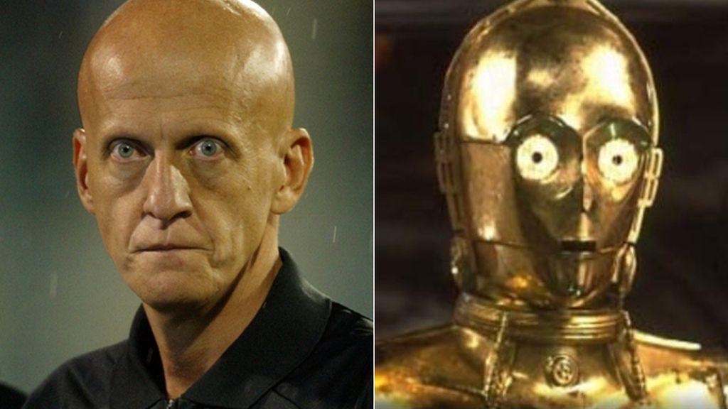 El famoso ex árbitro Pierluigi Collina y el mítico personaje de Star Wars 'C-3PO'
