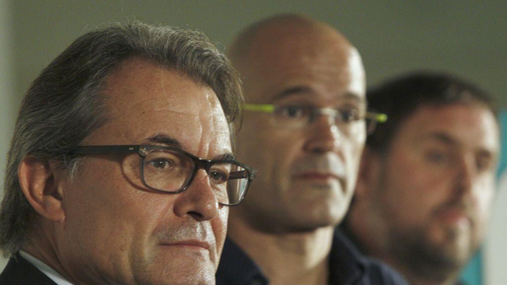 Artur Mas, Raul Romeva y Oriol Junqueras en un acto de Junts pel Si
