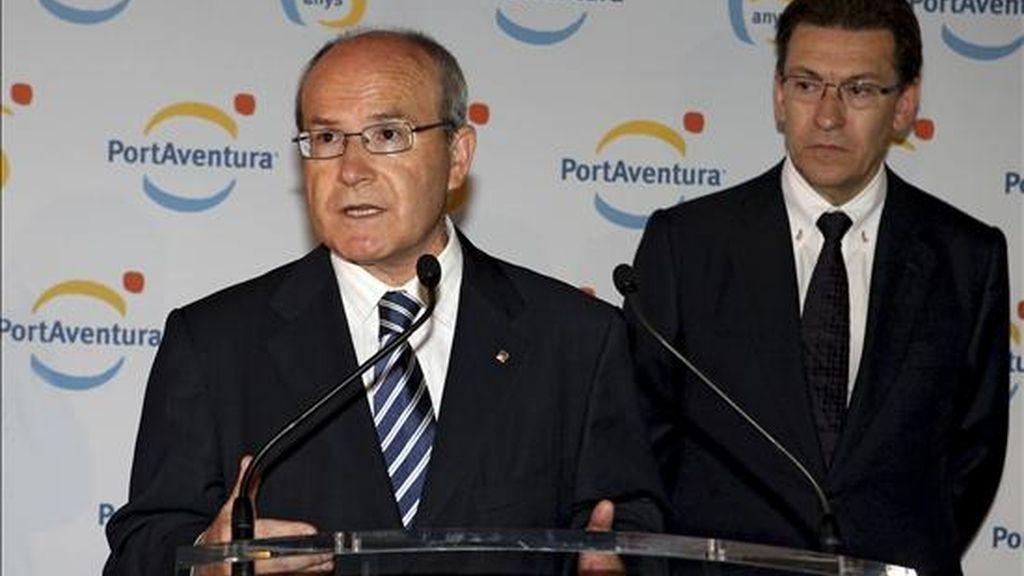 El presidente de la Ganeralitat de Cataluña, José Montilla, durante su discurso hoy en la celebración del 15 aniversario de Port Aventura. EFE