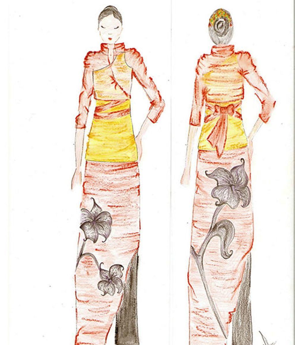 Vestido asiático flor