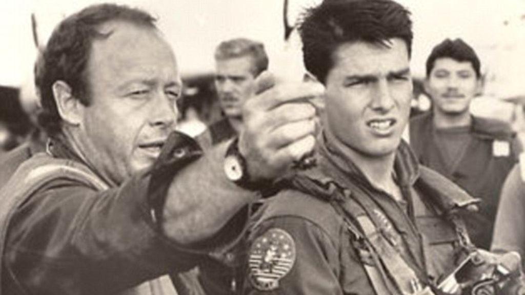 Tony scott con Tom Cruise durante el rodaje de la cinta Top gun