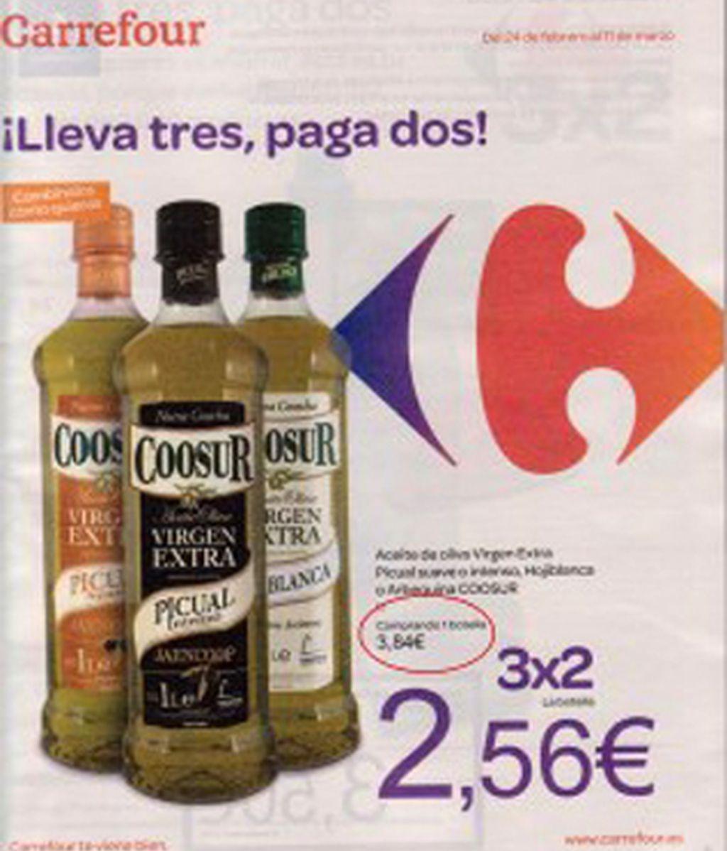 """La publicidad de Carrefour presentada por la COAG en la denuncia por supuesta """"venta a pérdidas"""" de aceite de oliva virgen extra de su marca blanca. Foto Blog Vagamundos"""