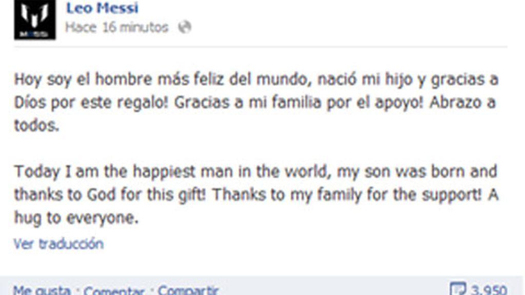 Leo Messi hace pública su paternidad en Facebook