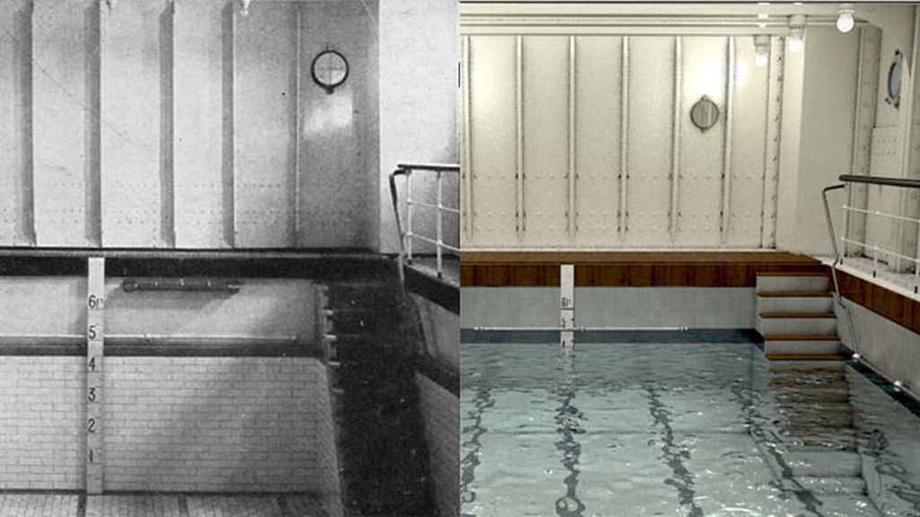 La piscina, junto a un baño turco