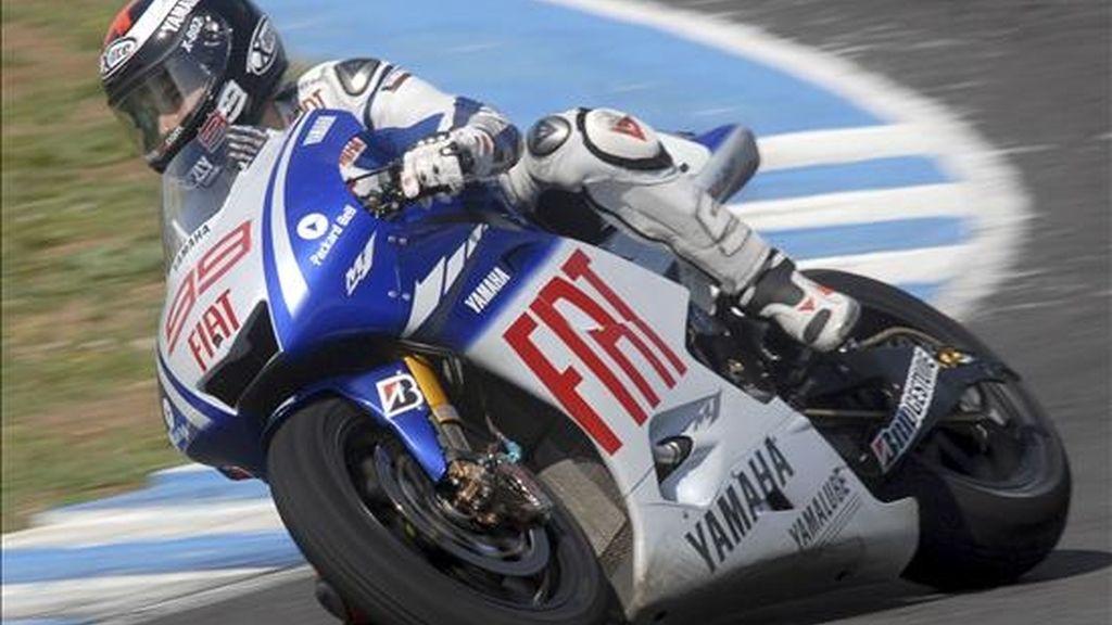 El piloto español de Moto GP,Jorge Lorenzo, durante los test oficiales IRTA que se realizan en Jerez. EFE