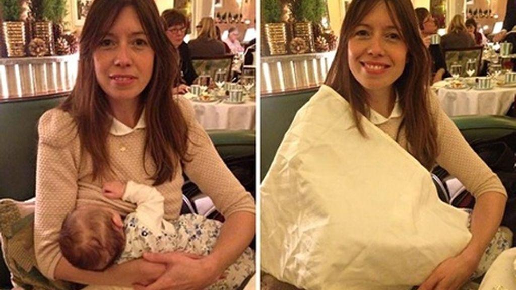 Louise Burns dando de mamar a su bebé en el hotel Claridge's de Londres