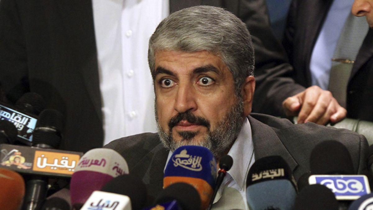 Rueda de prensa del lídel de Hamas, Jaled Meshal, en El Cairo
