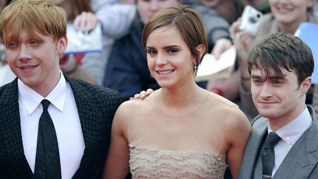 Rupert Grint, Emma Watson y Daniel Radcliffe, durante el estreno