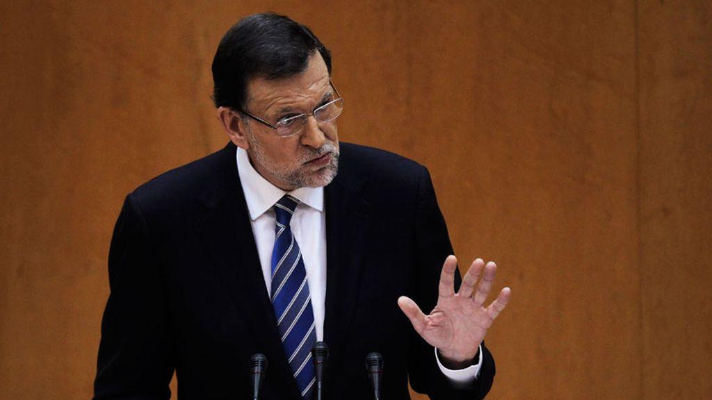 Rajoy durante su comparencia ante el Congreso por el caso Bárcenas