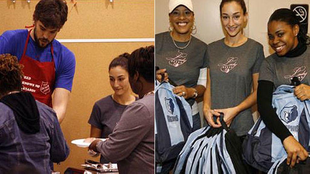 Marc Gasol y Cristina Blesa, en una obra de caridad con los Grizzlies